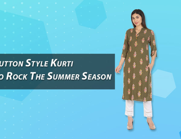 Brown and Beige Embroidered Button Kurti